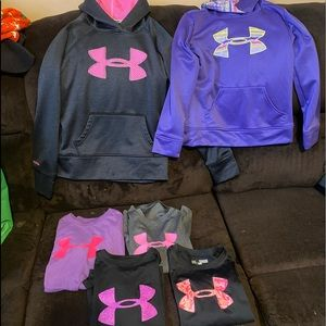 Girls youth medium under armor lot